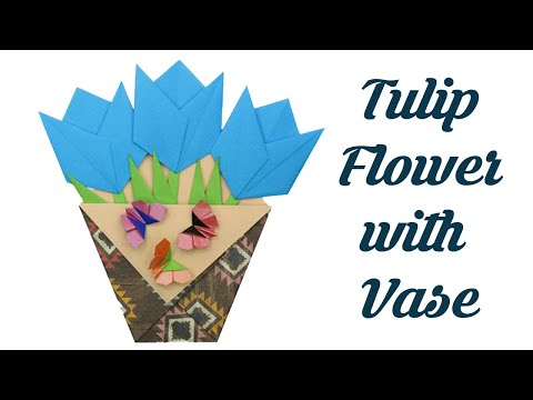 Origami Tulip flower Vase, Easy Simple basic Origami for Beginners kids, Paper Crafts Ideas DIY Art