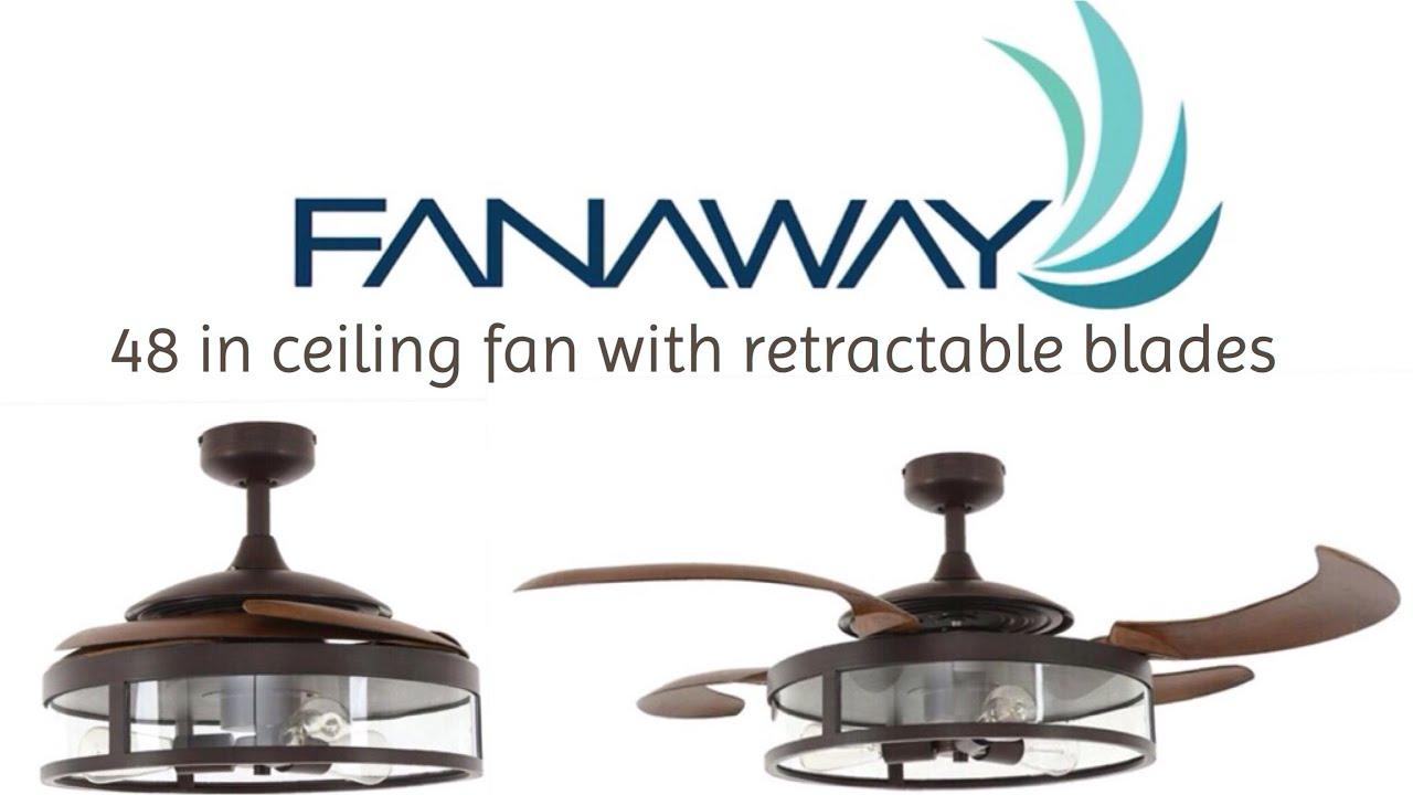 Fanaway 48 in retractable blades ceiling fan home depot - Fan with retractable blades ...