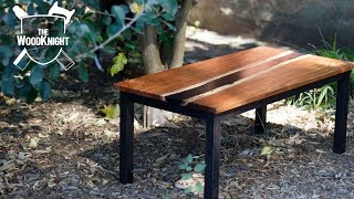 Bookmatched Blackwood Resin River Coffee Table | Sounds of the workshop