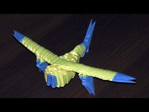 Модульное оригами самолет (видео схема сборки) для начинающих