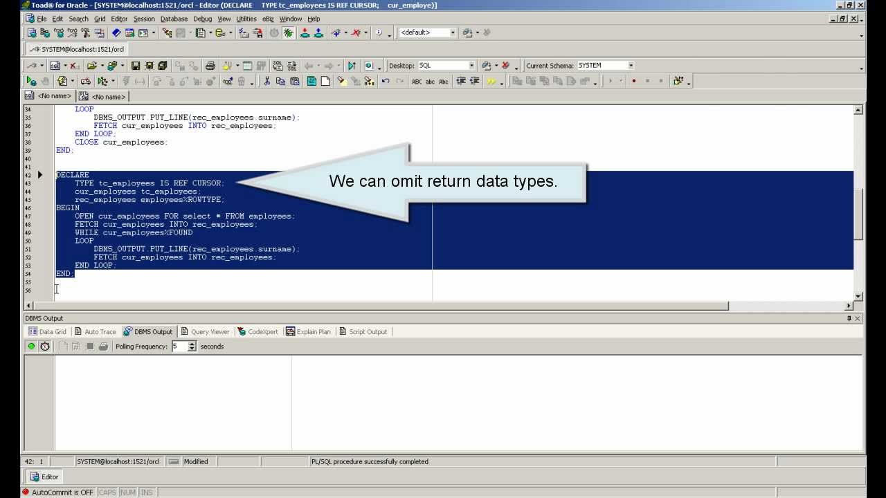 PL/SQL Oracle tutorial - REF CURSOR and SYS_REFCURSOR - PL/SQL for  beginners (Lesson 10)
