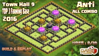 Th9 Top 3 Farming base 2016.Best Farming base Town hall 9 Clash of clans (Coc)
