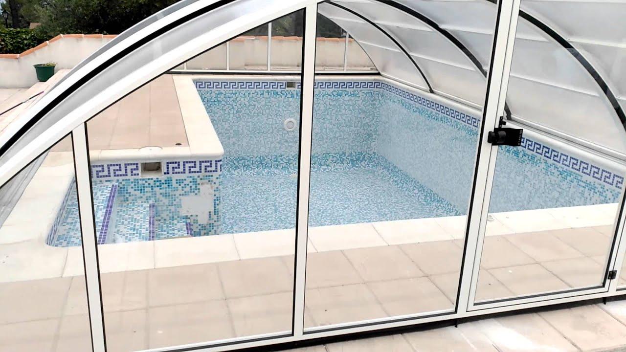 Cubiertas para piscinas telescópicas.Acceso lateral. Cubiertas de piscina  altura 1800 mm