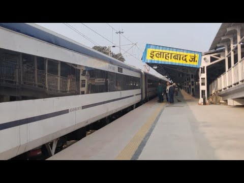 Train 18 New Delhi Allahabad Trials With Interiors And Look Of New Platform at Allahabad Jn