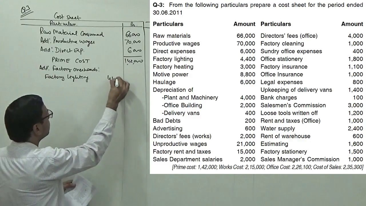 Cost Sheet [Part-2] (Problem & Solution) ~ Cost and Management Accounting  [For B Com/M Com]
