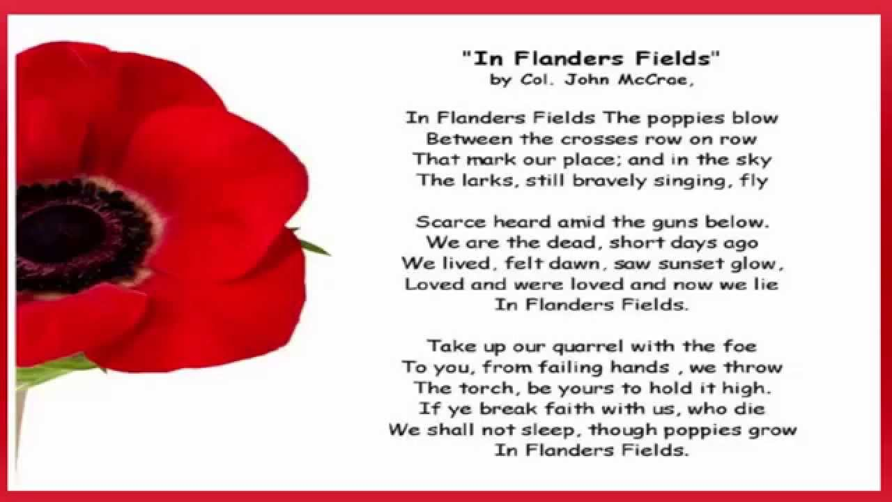 Remembrance Day 2015-Reflection plus In Flanders Fields Poem - YouTube