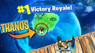 OMG CE TOP 1 TROLL SKYBASE VS THANOS ON FORTNITE BATTLE ROYALE AVENGERS (Omega Max Skin)!
