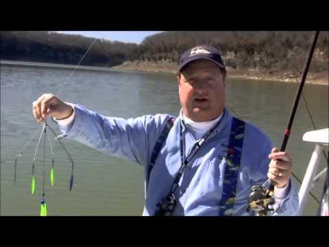 "Captain Jim Durham of StriperFun Guide Service demonstrates his ""Captain Jim Special"" lures!"