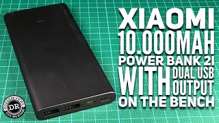 Xiaomi 10.000mAh Power Bank 2i (PLM09ZM) with dual USB output on the bench.