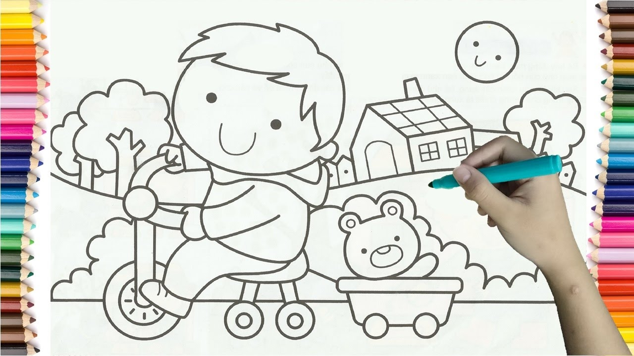 Learning How To Drawing Boy Riding A Bike Colorful For Kids