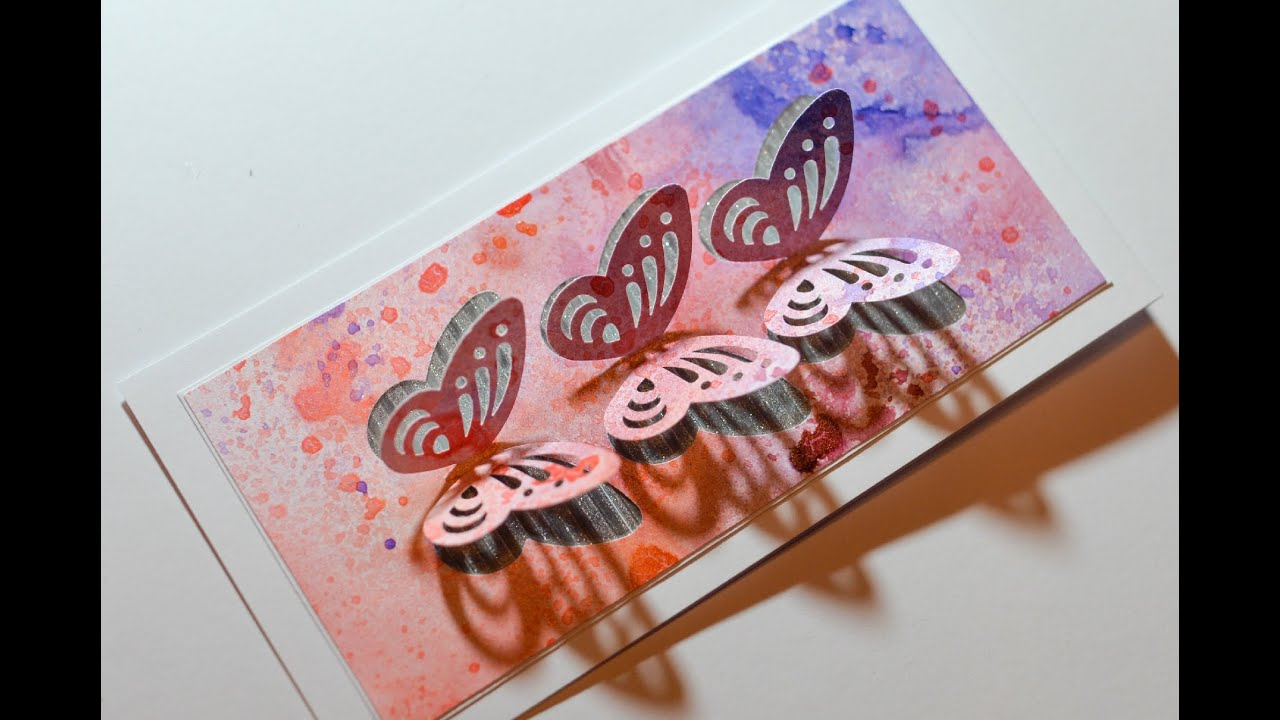 How to make spring greeting card butterflies watercolor for 3d christmas cards to make at home