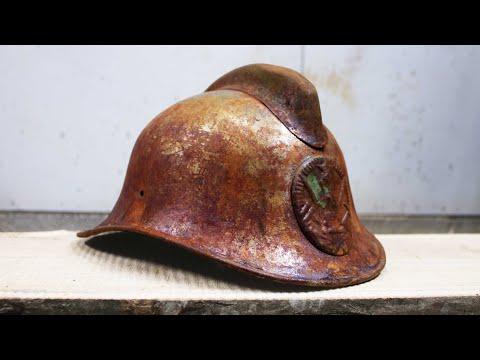 Restoring rusty dented USSR firefighter's helmet - VINTAGE RESTORATION