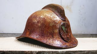 Restoring rusty dented USSR firefighter's helmet - VINTAGE RESTORATION
