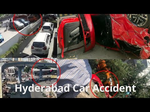 Hyderabad car accident on flyover || Driver loses control || pedestrian killed by red car