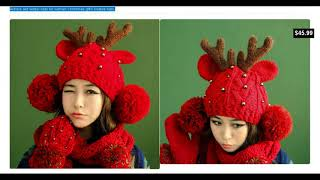 Christmas knit  hat for women