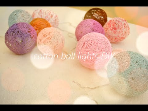 cotton ball lights diy youtube. Black Bedroom Furniture Sets. Home Design Ideas