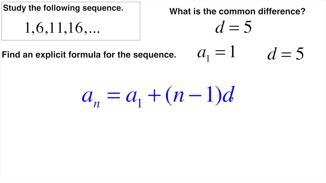 Arithmetic sequence find explicit formula - YouTube