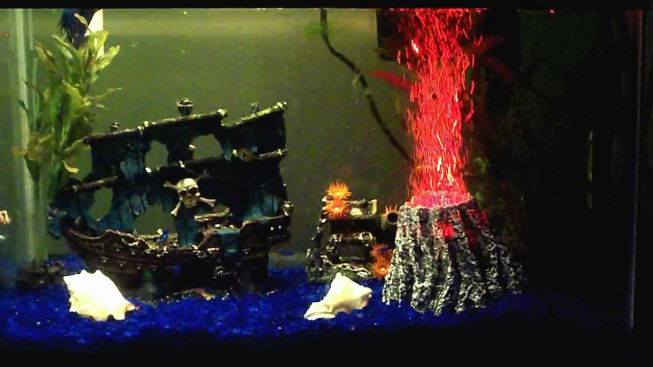 New volcano bubbler and a frog appearance youtube for Fish tank volcano