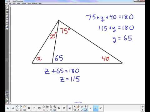 Geometry triangle angle sum and exterior angle theorem - Sum of the exterior angles of a triangle ...