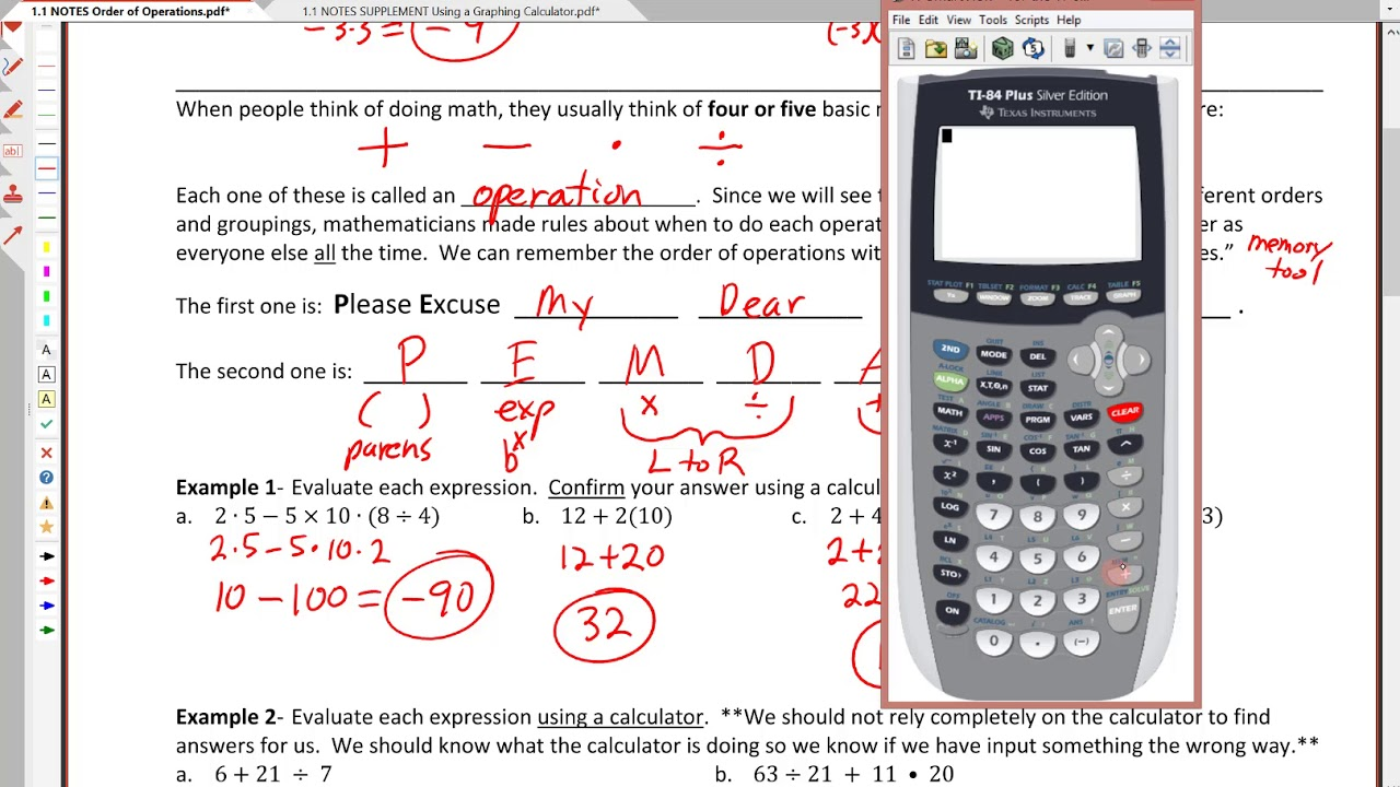 1 1 Order Of Operations With A Calculator Youtube