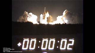 Space Shuttle STS-92 Discovery Launch at KSC press site (T-9min to +7min)