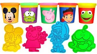 Disney Play Doh Can Heads Mickey Mouse Kermit Jake and the Neverland Pirates Peppa Pig Surprise Toys