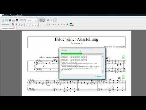 Preview of importing a PDF into MuseScore