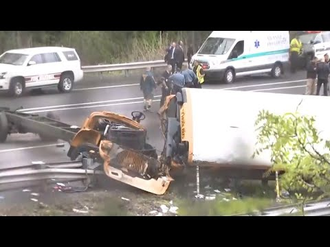 "N.J. school bus collides with dump truck in ""horrific"" crash"
