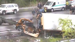 "N.J. school bus collides with dump truck in ""horrific"" crash"