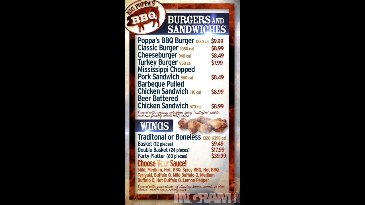 Digital Menu Sample  Barbeque Bbq Menu  Youtube