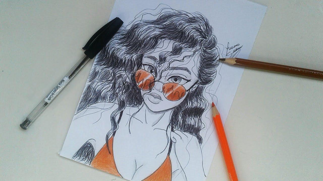Como Desenhar Garota Tumblr Cacheada Como Desenhar Passo A Passo