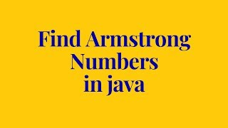 how to find an armstrong number in java