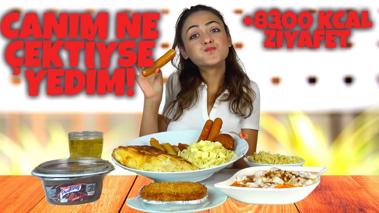 CANIM NE ÇEKTİYSE YEDİM!-Su Böreği,Mantı,Künefe,Noodle vs..(+8300 KCAL)