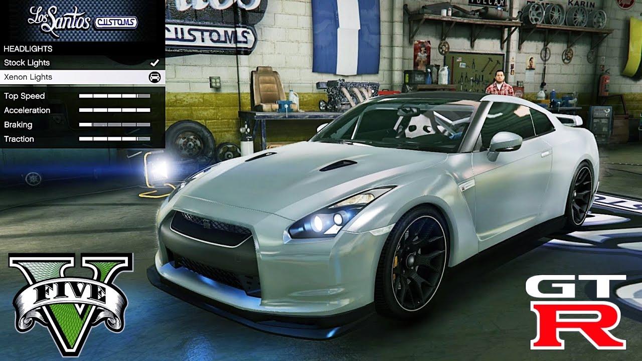 Nissan GT R R35 GTA V car mod tuning !! - YouTube