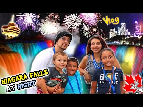 NIAGARA FALLS AT NIGHT!  Family Trip CANADA pt. 1 - Waterfall Lights (FUNnel Vision Vlog)