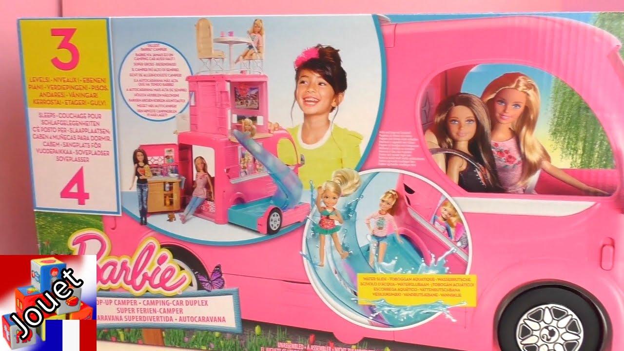 camps de vacances barbie camping car pour poup es avec cuisine lit et chaises youtube. Black Bedroom Furniture Sets. Home Design Ideas