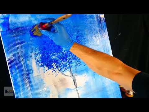 Simple step by step abstract painting - blue tree, beautiful background on large canvas