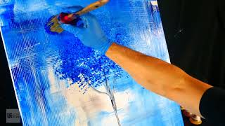 Video Simple step by step abstract painting - blue tree, beautiful background on large canvas download MP3, 3GP, MP4, WEBM, AVI, FLV Agustus 2018