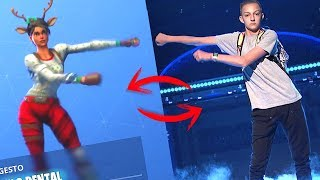 BAILES DE FORTNITE VS VIDA REAL! TOP BATTLE ROYALE danças (Kid mochila, electro shuffle...)