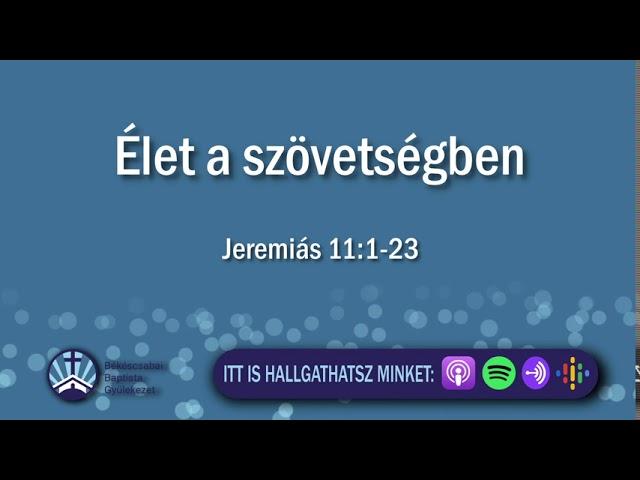 2020. 08. 09. délelőtt, Jeremiás 11:1-23, Élet a szövetségben