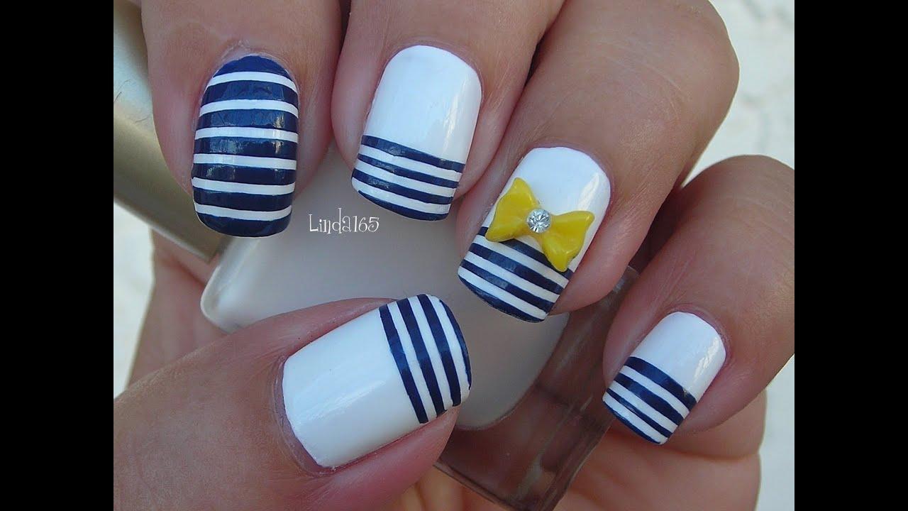 Nail Art Nautical Stripes Decoración De Uñas Líneas Nauticas