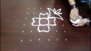 flower kolam designs with 6x6 dots- chukkala muggulu designs with dots- simple rangoli designs