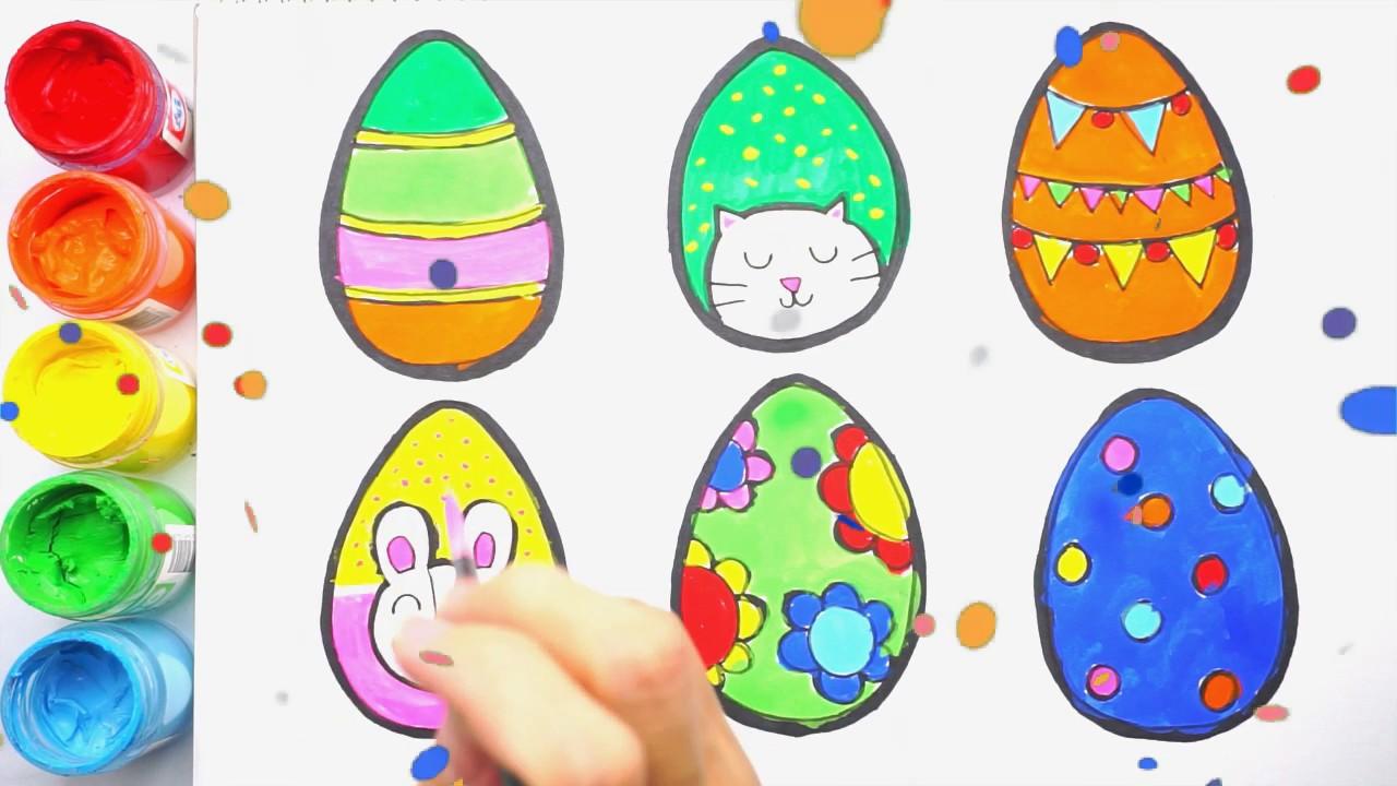 Drawing & Coloring 6 Easter Eggs Cara Melukis Dan Mewarna
