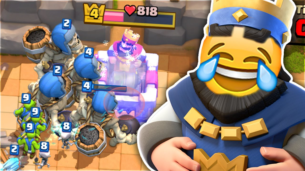 Download Clash Royale – 4 GIANT SKELETONS vs ARENA 2 NOOBS! HILARIOUS NOOB TROLLING!