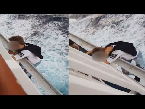 Heart-Stopping Video Shows Daredevil Cruise Passenger Hanging Off Ship
