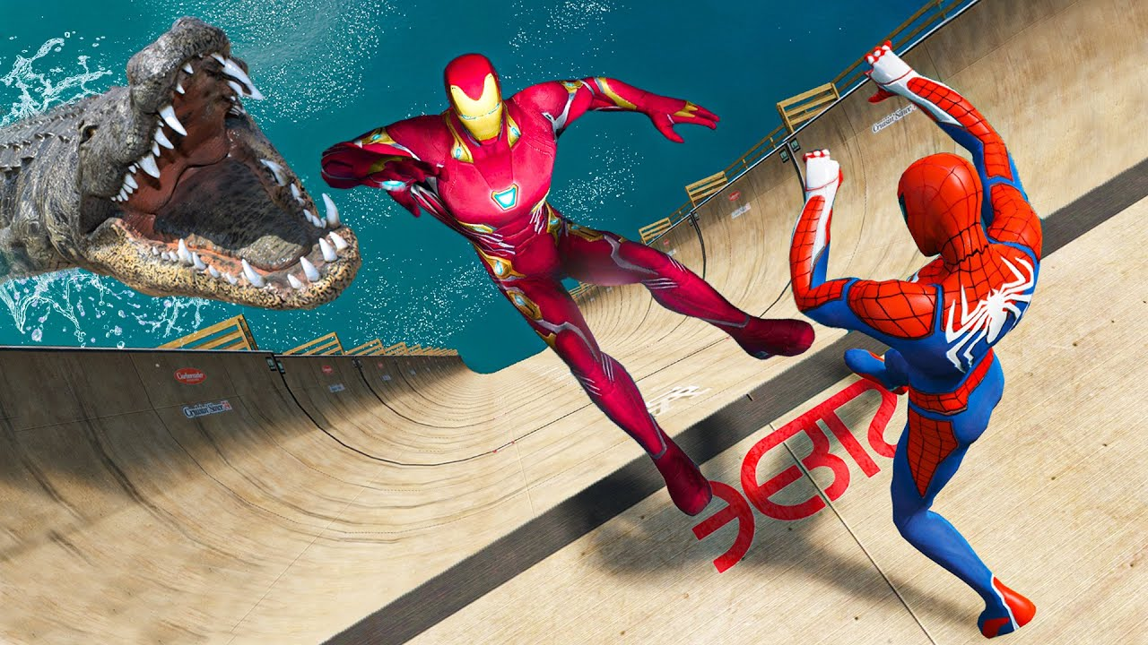 GTA 5 Water Ragdolls Spiderman vs Iron Man Jumps/Fails Ep.3 (Funny Moments)