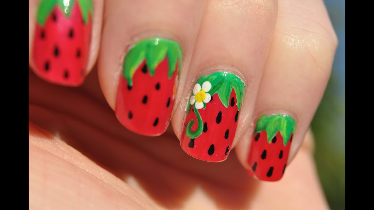 Sweet summer strawberries nail art youtube prinsesfo Image collections