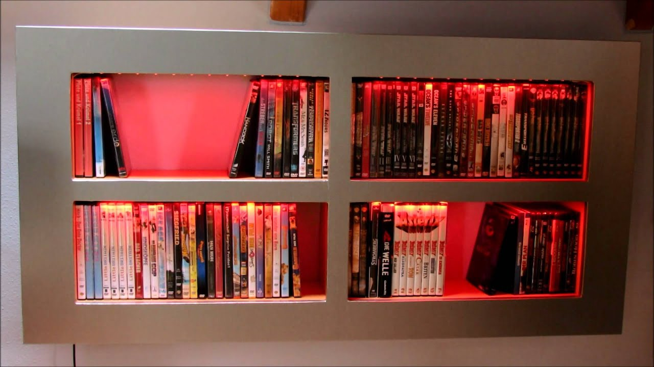 Led Beleuchtung Für Regale Dvd Bluray Regal Selbstgebaut Mit Led Beleuchtung Youtube