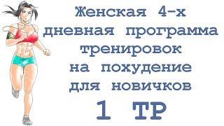 Женская 4 х дневная программа тренировок на похудение для новичков (1 тр)