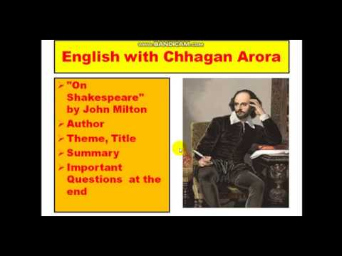 Summary Of On Shakespeare By John Milton Prudence Class 12 Discussed In Hindi